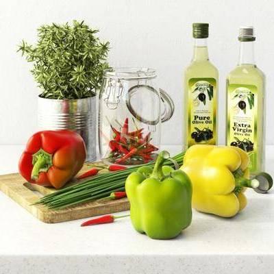 现代盆栽蔬菜食物组合, 蔬菜, 酒, 青椒, 盆栽