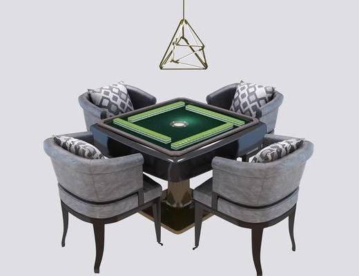 麻将桌椅, 功能桌, 吊灯, 单人椅, 现代