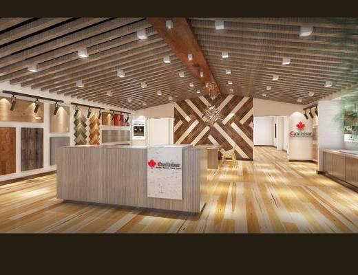 现代, 店铺, 木地板店铺, 前台, 木地板, 展板