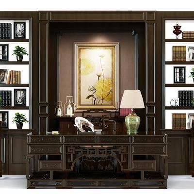 桌椅组合, 书桌, 单椅, 椅子, 书柜, 书籍, 植物, 盆栽, 案几, 摆件, 装饰品, 台灯, 挂画, 新中式
