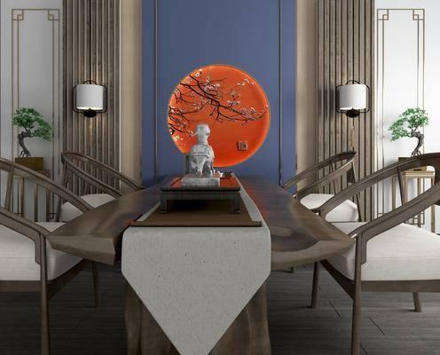 桌椅组合, 新中式桌椅组合, 摆件组合