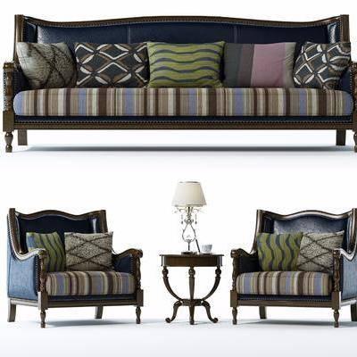 美式沙发组合, 美式, 沙发, 椅子