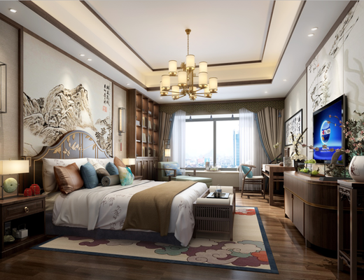 中式, 双人床, 卧室, 灯具, 挂画, 电视柜