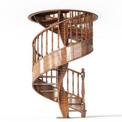 楼梯, 旋转楼梯, 木质, 现代