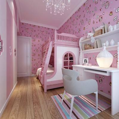 儿童房, 床具, 儿童床, 上下床, 化妆台, 书桌, 台灯, 单椅, 墙画, 摆件, 装饰品, 书籍, 衣柜, 简欧