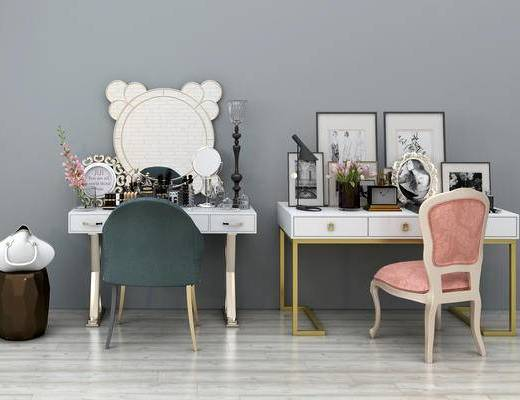 后现代, 现代, 梳妆台, 镜子, 化妆品, 陈设品, 摆件, 单椅, 简欧