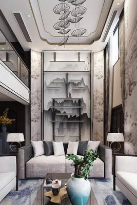 中式客厅, 跃层, 沙发茶几, 台灯, 背景墙