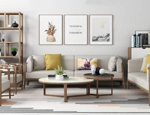 北欧简约, 沙发茶几组合, 置物架, 陈设品组合, 装饰画