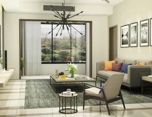 现代客厅, 现代沙发, 沙发组合, 沙发茶几组合, 吊灯, 多人沙发