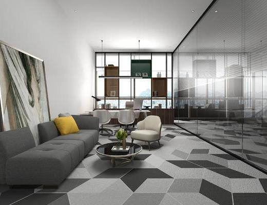 办公室, 办公区, 现代, 多人沙发, 装饰画, 挂画, 茶几, 单人沙发, 办公桌椅