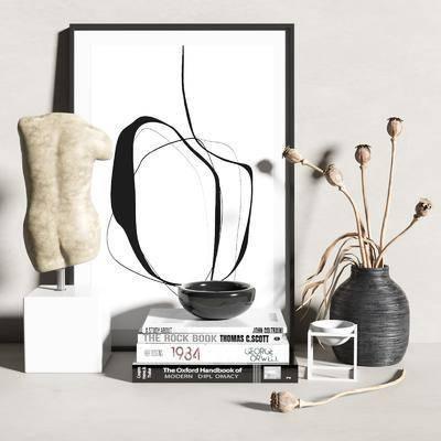 摆件组合, 饰品, 书籍, 花瓶