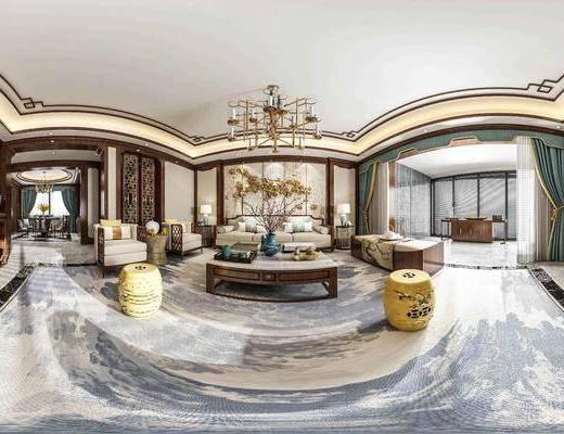 新中式客餐厅全景, 新中式沙发, 吊灯, 台灯, 圆凳, 餐桌椅组合