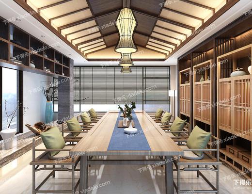 茶室, 茶具, 椅子, 桌椅组合, 吊灯, 中式