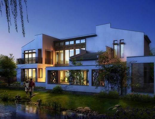 别墅, 门面门头, 树木, 人物, 竹子, 石头, 花卉, 草地, 中式
