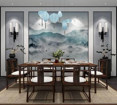 新中式, 餐桌椅, 背景墙, 吊灯