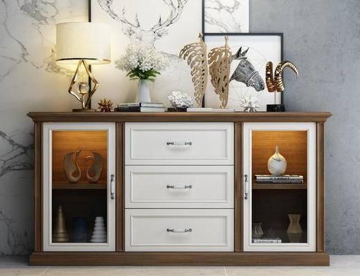 边柜, 电视柜, 美式, 陈设品, 摆件, 装饰画, 台灯, 花瓶