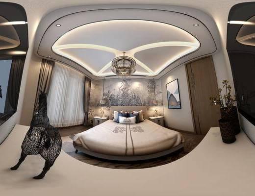 新中式卧室全景, 新中式双人床, 吊灯, 床头柜, 电视