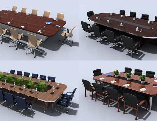 会议桌, 办公桌, 单人椅, 办公椅, 绿植植物, 现代