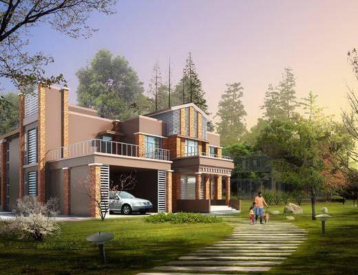 现代, 户外建筑, 构件, 别墅, 植物, 园林景观