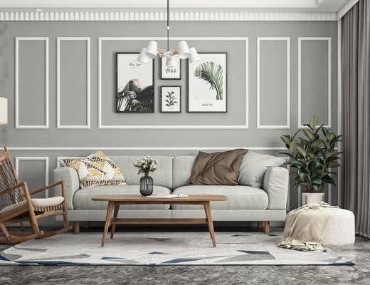 多人沙发, 吊灯, 绿植, 挂画, 休闲椅