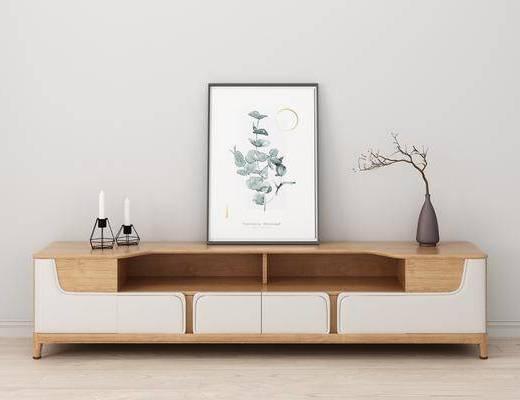 电视柜, 边柜, 植物画, 装饰画, 花瓶花卉, 北欧