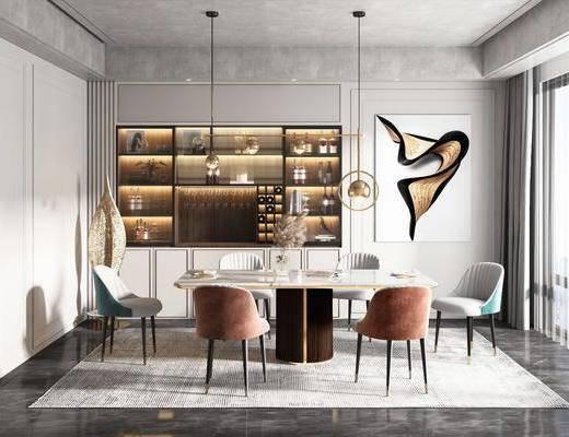 餐厅, 餐桌, 吊灯, 装饰画, 酒柜