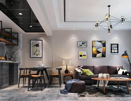 北欧客厅, 客厅, 北欧沙发, 沙发组合, 沙发茶几组合, 椅子