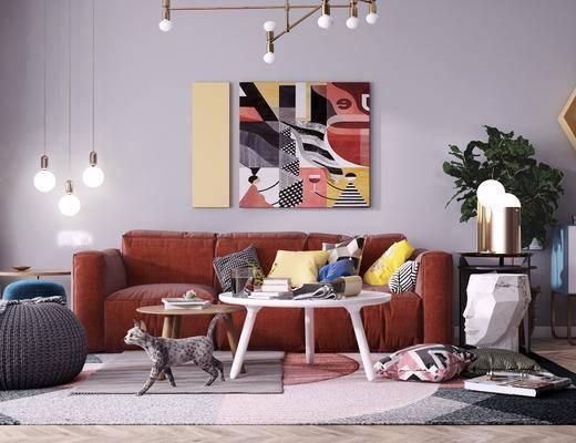 沙发组合, 茶几组合, 边柜, 吊灯, 茶几, 边几, 装饰画