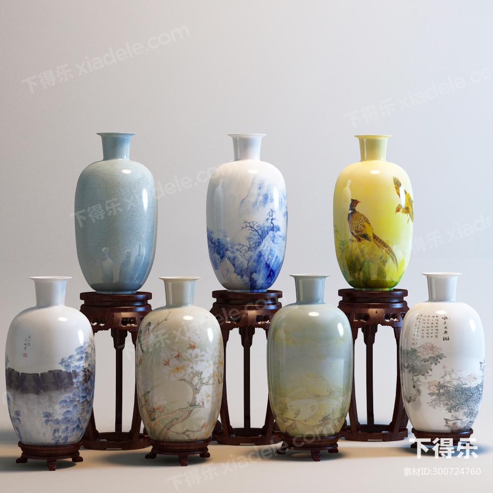 作品点评 技能练习 户型优化 创意设计  中式花瓶罐子组合 3d模型