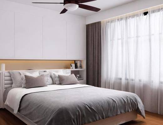 北欧卧室, 现代卧室, 卧室, 床