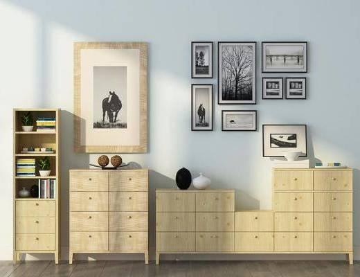 柜子组合, 边柜, 装饰柜, 装饰画, 挂画, 照片墙, 书籍, 装饰品, 陈设品, 现代