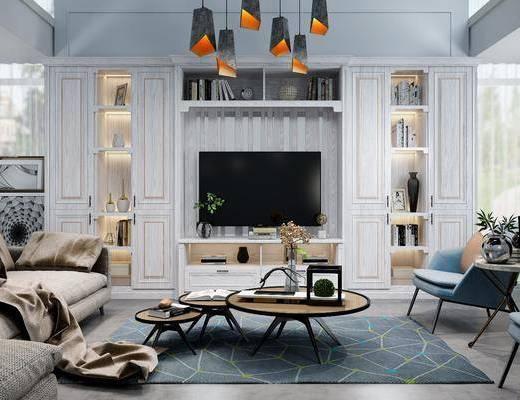 电视柜, 装饰柜, 单人椅, 茶几, 多人沙发, 转角沙发, 吊灯, 摆件, 装饰品, 陈设品, 边几, 装饰画, 挂画, 现代