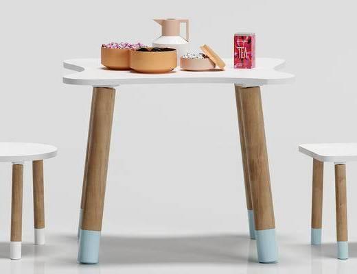 北欧, 儿童, 桌椅, 组合