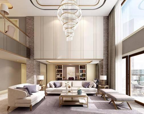 现代简约, 客厅, 沙发茶几组合, 吊灯, 台灯, 陈设品