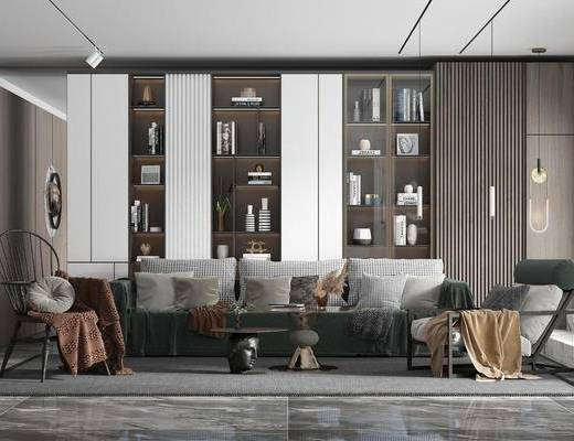 沙发组合, 单椅, 吊灯, 书柜, 书籍, 墙饰