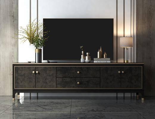 电视柜, 边柜, 台灯, 花瓶, 绿植植物, 摆件, 装饰品, 陈设品, 现代
