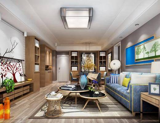 客厅, 现代, 沙发组合, 沙发茶几组合, 电视柜, 吸顶灯, 装饰画, 装饰柜, 置物柜, 混搭风