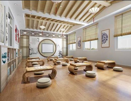 中式, 儿童, 国学室, 中式桌椅, 中式挂画, 屏风