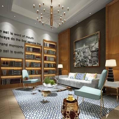 客厅, 会客厅, 现代客厅, 沙发组合, 沙发茶几组合, 书柜