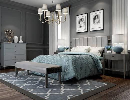 美式, 主卧, 双人床, 挂画, 灯具, 装饰柜