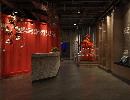 餐厅, 火锅店, 工业风, 餐桌椅, 桌椅组合, 前台