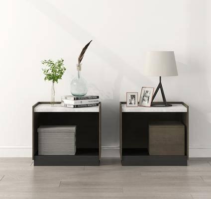 床头柜, 组合, 摆件组合, 现代