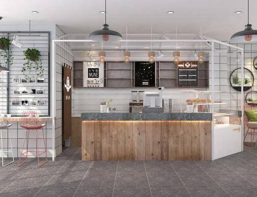 奶茶店, 北欧奶茶店, 前台, 收银, 吧台, 吧椅, 单椅, 墙饰, 植物, 盆栽, 吊灯, 桌椅组合, 北欧