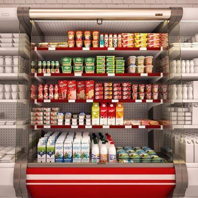 现代超市展柜立柜摆件组合, 超市, 冰柜, 食物, 牛奶