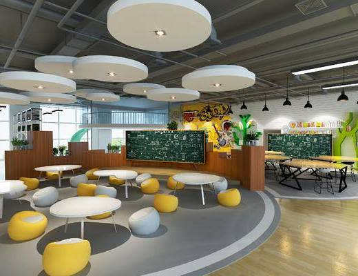 科技馆, 教室, 现代, 桌子, 凳子, 黑板, 摆件, 置物架, 书籍, 墙画