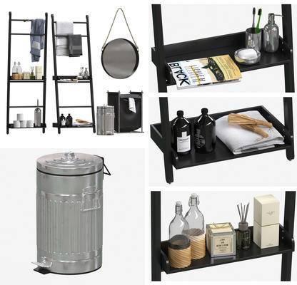 卫浴架, 毛巾, 梳妆镜, 垃圾桶, 储物袋, 卫浴用品, 洗漱用品, 沐浴用品, 镜, 置物架, 摆件, 卫浴小件, 北欧