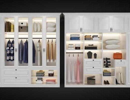 衣柜组合, 衣柜, 服饰, 装饰品, 欧式