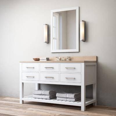 浴柜, 洗手台, 洗手盆, 水龙头, 镜子, 壁灯, 浴室用品, 毛巾, 现代