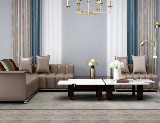 沙发组合, 茶几组合, 吊灯