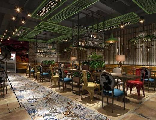 餐厅, 桌椅组合, 绿植, 花架